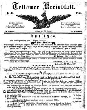 Teltower Kreisblatt vom 20.10.1869