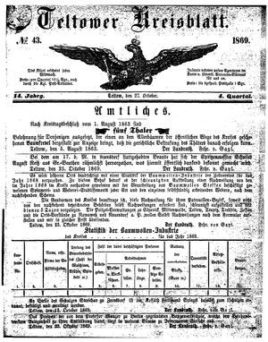 Teltower Kreisblatt on Oct 27, 1869