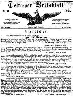 Teltower Kreisblatt vom 03.11.1869