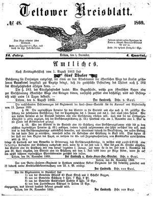 Teltower Kreisblatt vom 01.12.1869