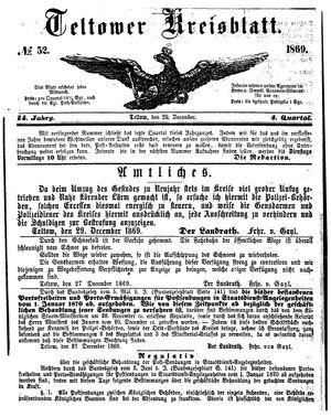 Teltower Kreisblatt vom 29.12.1869