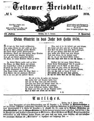 Teltower Kreisblatt vom 05.01.1870