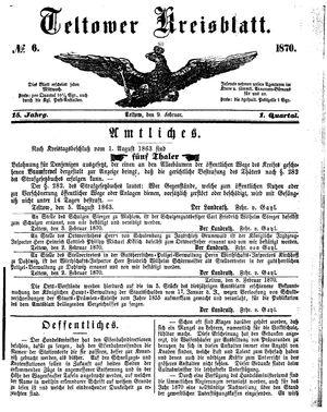 Teltower Kreisblatt vom 09.02.1870