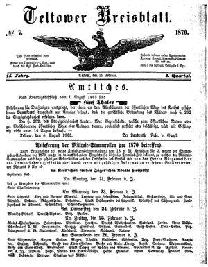 Teltower Kreisblatt vom 16.02.1870