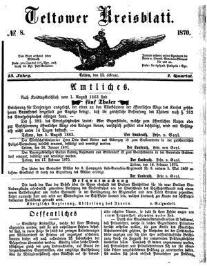 Teltower Kreisblatt vom 23.02.1870