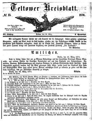 Teltower Kreisblatt vom 30.03.1870