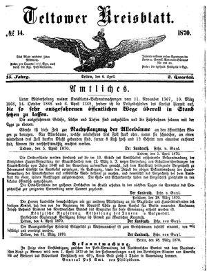 Teltower Kreisblatt vom 06.04.1870