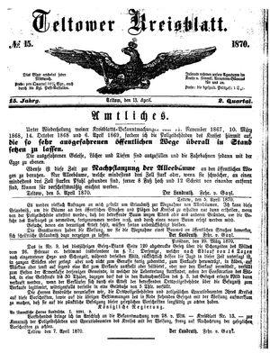 Teltower Kreisblatt vom 13.04.1870