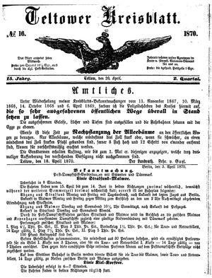 Teltower Kreisblatt vom 20.04.1870