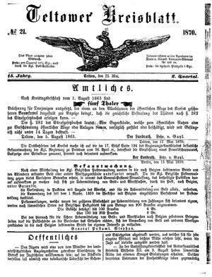 Teltower Kreisblatt vom 25.05.1870