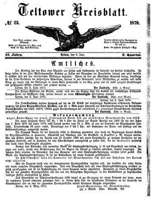 Teltower Kreisblatt vom 08.06.1870