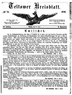 Teltower Kreisblatt vom 15.06.1870