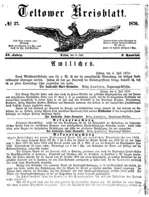 Teltower Kreisblatt on Jul 6, 1870