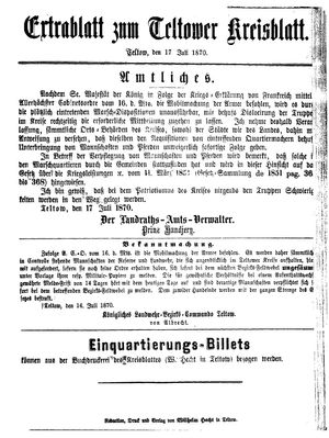 Teltower Kreisblatt vom 17.07.1870