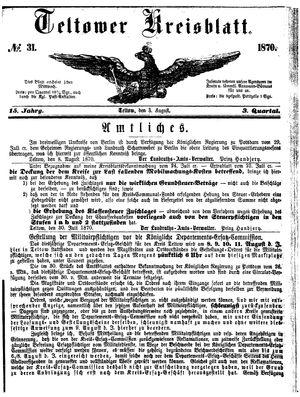 Teltower Kreisblatt vom 03.08.1870