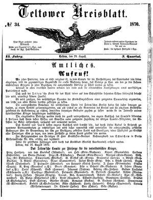Teltower Kreisblatt vom 24.08.1870