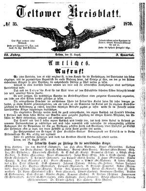 Teltower Kreisblatt vom 31.08.1870
