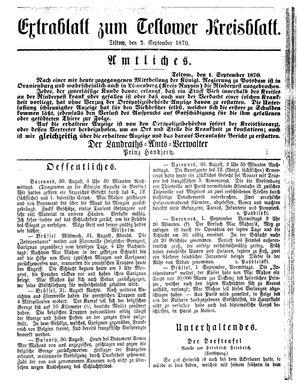 Teltower Kreisblatt vom 02.09.1870