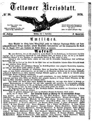 Teltower Kreisblatt vom 07.09.1870