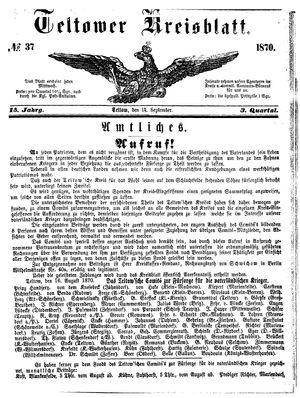 Teltower Kreisblatt vom 14.09.1870