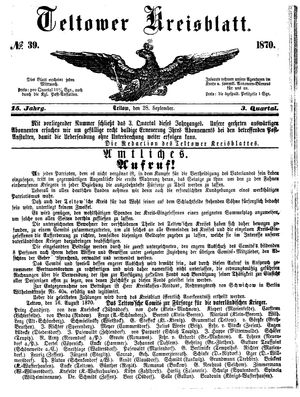 Teltower Kreisblatt on Sep 28, 1870