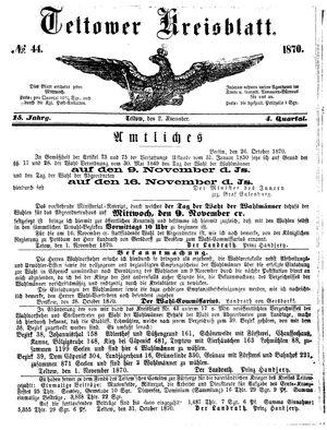 Teltower Kreisblatt vom 02.11.1870
