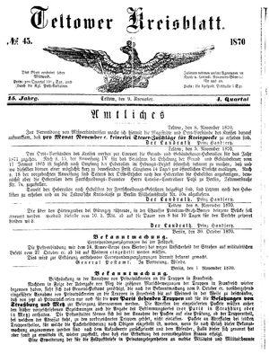 Teltower Kreisblatt vom 09.11.1870