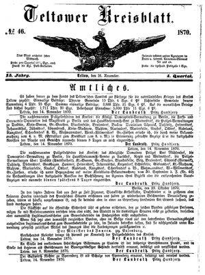 Teltower Kreisblatt vom 16.11.1870