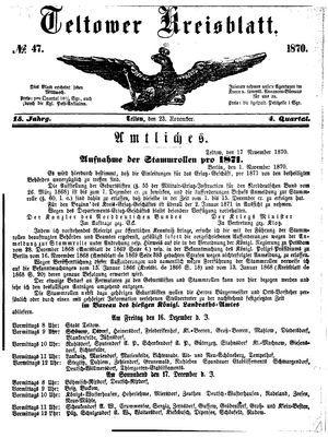 Teltower Kreisblatt on Nov 23, 1870