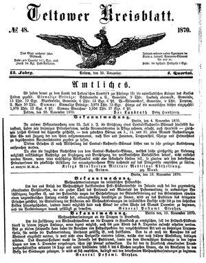 Teltower Kreisblatt vom 30.11.1870