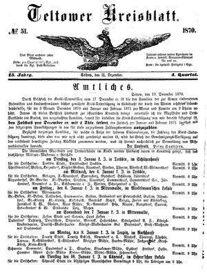 Teltower Kreisblatt vom 21.12.1870
