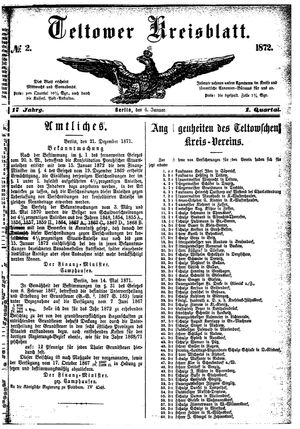 Teltower Kreisblatt vom 06.01.1872