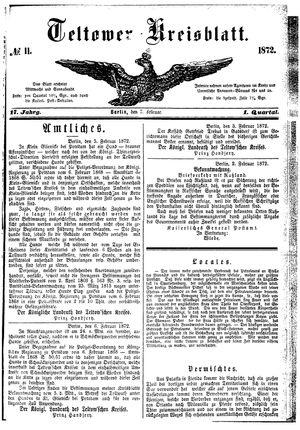 Teltower Kreisblatt vom 07.02.1872