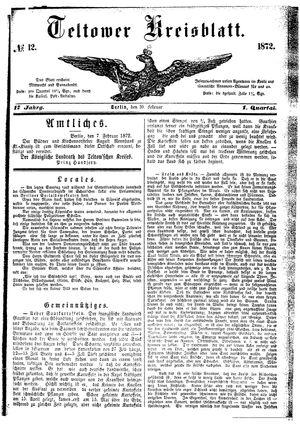 Teltower Kreisblatt vom 10.02.1872