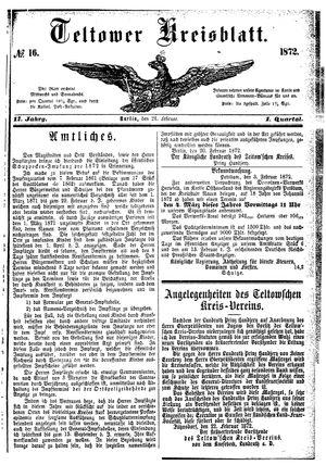 Teltower Kreisblatt vom 24.02.1872