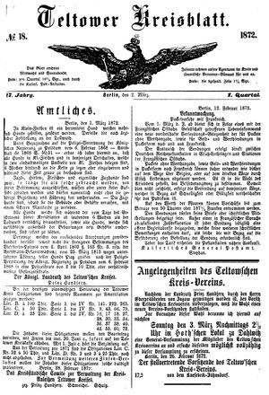 Teltower Kreisblatt vom 02.03.1872