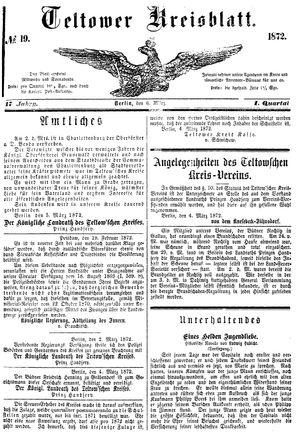Teltower Kreisblatt vom 06.03.1872