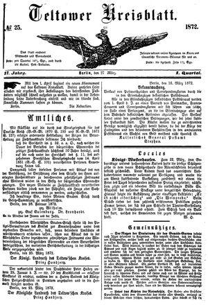 Teltower Kreisblatt vom 27.03.1872