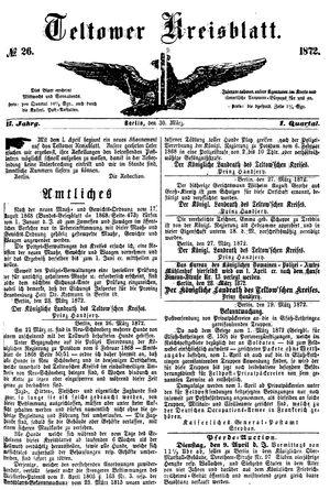 Teltower Kreisblatt vom 30.03.1872