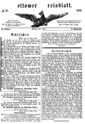 Teltower Kreisblatt vom 03.04.1872
