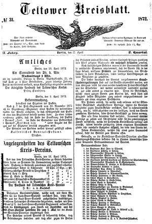 Teltower Kreisblatt vom 17.04.1872