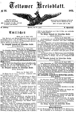 Teltower Kreisblatt vom 20.04.1872