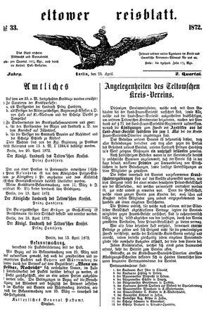 Teltower Kreisblatt vom 24.04.1872