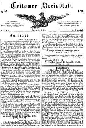 Teltower Kreisblatt vom 01.05.1872