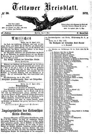 Teltower Kreisblatt vom 04.05.1872