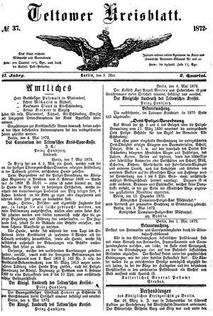 Teltower Kreisblatt vom 08.05.1872