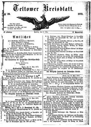 Teltower Kreisblatt vom 15.05.1872
