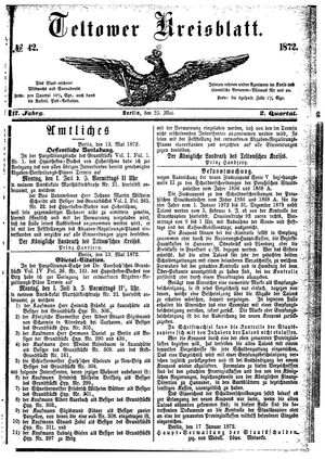 Teltower Kreisblatt vom 25.05.1872