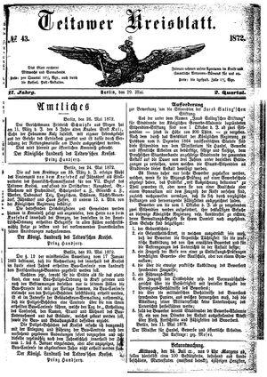 Teltower Kreisblatt vom 29.05.1872