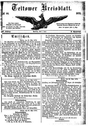 Teltower Kreisblatt vom 01.06.1872